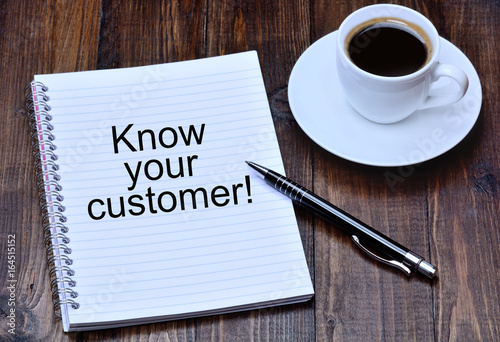 Know your customer on notebook Poster