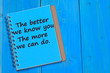 The better we know you. The more we can do text on notebook