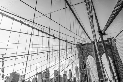 Foto op Aluminium New York One of the main attractions in New York - famous Brooklyn Bridge