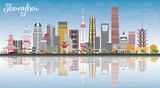 Fototapety Shanghai Skyline with Color Buildings, Blue Sky and Reflections.