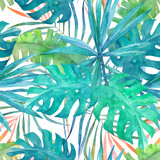 Summer seamless pattern with watercolor  palm leaves on white  background.Tropical hand drawn illustration - 164532152