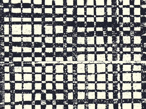 Abstract grunge vector background. Monochrome raster composition of irregular overlapping graphic elements.