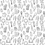 cooking tools seamless pattern background set