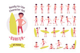 Ready-to-use surfer man character set, various poses and emotions