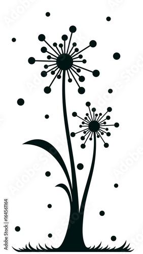Field stylized dandelions.