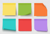 Fototapety Multicolor post it notes isolated on transparent background. Colored sticky note set. Vector realistic illustration. Sticky note collection with curled corners and shadows.