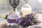 Nature cosmetics, handmade preparation of essential oils, perfume, creams, soaps from fresh and dried lavender flowers, French artisan home style