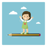 Girl flying in a pencil through the sky