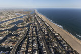 Sunset Beach waterfront homes aerial view in Orange County California.   - 164570969