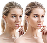 Young woman before and after retouch. - 164571977