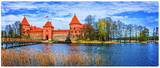 Island castle in Trakai, one of the most popular touristic attraction in Lithuania - 164572571