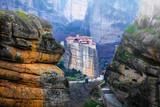 Landmarks of Greece - unique Meteora with hanging monasteries over rocks - 164573333