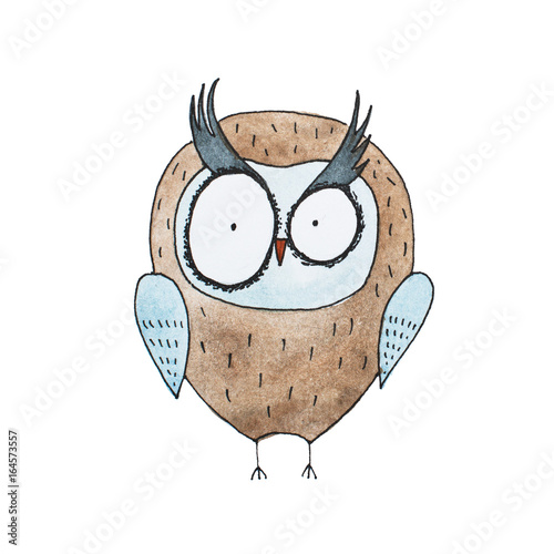 Cartoon owl hand drawn Watercolor aquarelle illustration - 164573557