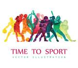 Color Sport  Football Basketball Hockey Box Golf Tennis  Illustration Wall Sticker