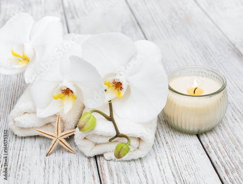 Spa towel  with orchids