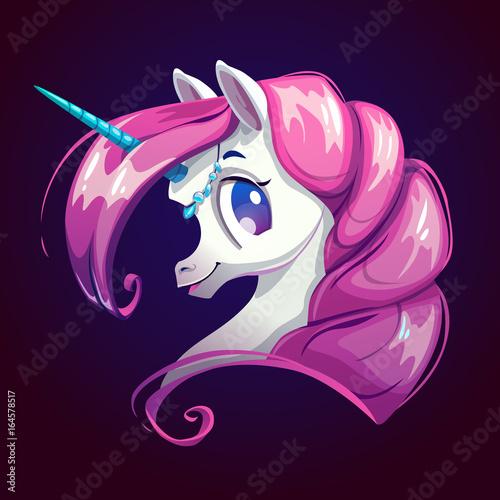 Cute cartoon unicorn with pink hair. - 164578517