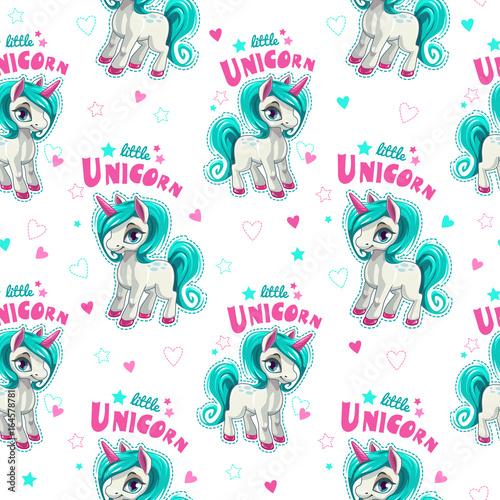 Cute seamless pattern with funny cartoon unicorns. - 164578781