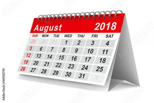 Poster 2018 year calendar. August. Isolated 3D illustration