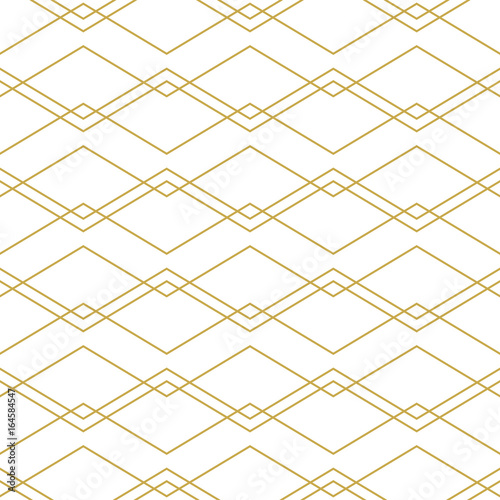 Seamless geometric vector pattern with chevron lines in gold - 164584547