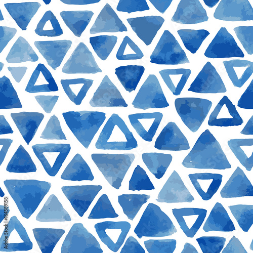 Mosaic blue triangles seamless vector pattern