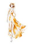 Watercolor fashion illustration, model in a long dress, catwalk - 164591587