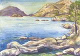 seascape. Islands and mountains. Watercolor painting