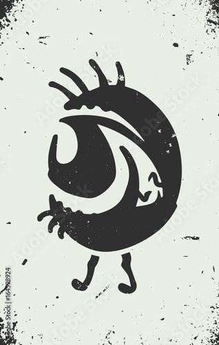 tattoo art style personified eye, graffiti on textured wall vector
