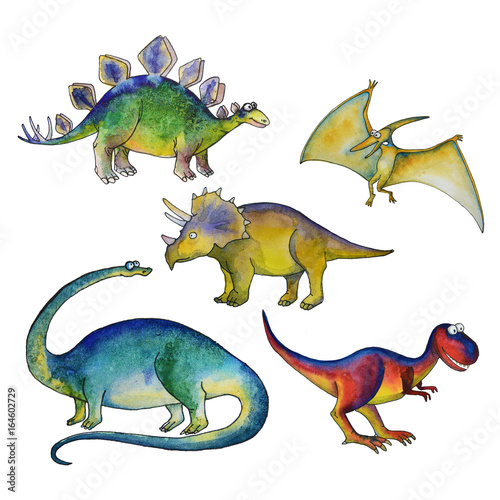Jurassic period dinosaurs set with Diplodocus triceratops pterodactyl tyrannosau Poster
