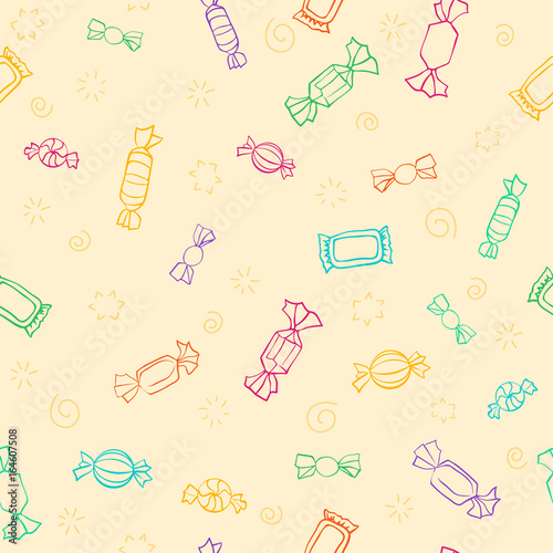 fototapeta na ścianę Candy day. Seamless pattern of colorful candy and sweets.