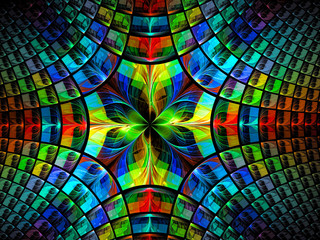 Bright kaleidoscope - abstract digitally generated image