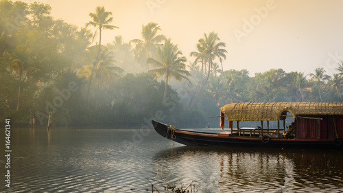 Foto Murales A traditional house boat is anchored on the shores of a fishing lake in Kerala's Backwaters, India.