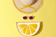 Fashion Sunny Summer Woman Set. Trendy Accessories. Glamor Lemon Citrus Clutch, fashion Sunglasses on Yellow. Hot Beach summer Vibes. Creative Bright Style. Vanilla Pastel Color. Minimal, Art