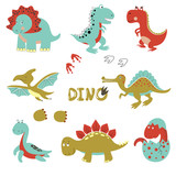 Cute Little Dinosaurs Set  Cartoon  For Kids Design Wall Sticker