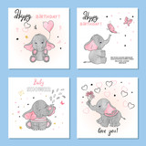 Fototapety Cute Elephants vector illustrations. Set of birthday greeting cards, posters, prints.