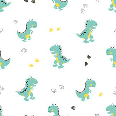 Cute dinosaurs pattern. Vector cartoon dino background. Baby print. © Afanasia