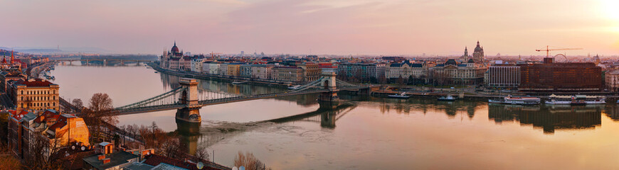 Panoramic overview of Budapest with the Parliament building