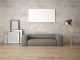 Mock up a modern living room with a wide leather sofa and a stylish floor lamp.