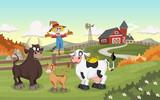 Cartoon cow, calf and bull. Farm background.  - 164628132