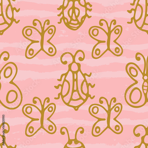 Seamless pattern with hand drawn gold thin line butterflies, bugs on pink grunge horizontal geometrical stripes. Cute summer abstract background. Infinity geometric pattern. Vector illustration.