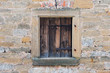 Wood Window frame with classical old wall in Europe