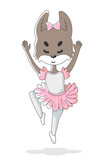 Hand drawn illustration of cute little wolf ballerine in pink skirt and dancing suit for kids. Can be used for print for baby clothes.