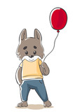 Hand drawn illustration of cute little wolf holding the red balloon in his hand. Can be used for print for baby clothes.