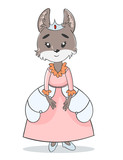 Hand drawn illustration of cute little wolf queen or princess in beautiful pink dress. Can be used for print for baby clothes.