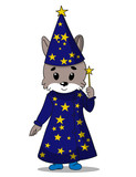 Hand drawn illustration of cute little wolf magician in magic clothes with yellow stars and with wand in his hand. Can be used for print for baby clothes.