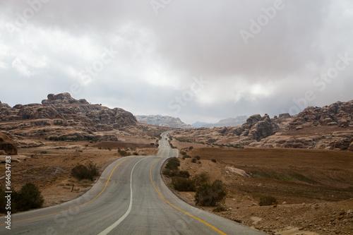 Wadi rum desert road Poster
