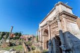 Arch of Septimius Severus and aspects from inside the Roman Forum. Rome, Italy - 164637313