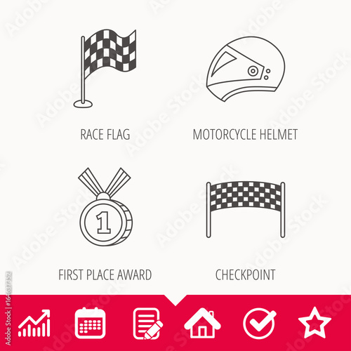 Foto op Canvas F1 Race flag, checkpoint and motorcycle helmet icons. Winner award medal linear signs. Edit document, Calendar and Graph chart signs. Star, Check and House web icons. Vector