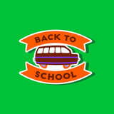 paper sticker on stylish background Back to school bus