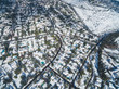 Aerial drone shot of Santiago de Chile at winter. Snowy cityscape of the city - 164642136