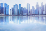 modern cityscape skyline with reflection in the water, business office buildings background with copyspace